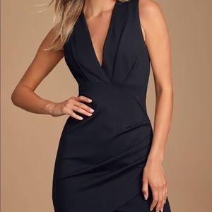 NWOT Sexy Tight Sleeveless Black Wrap Mini Dress